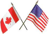 Canadian-American flags